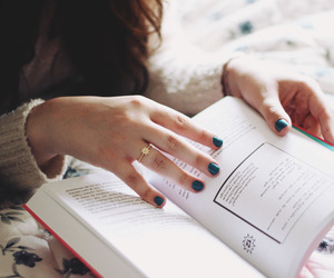 book, nails, and girl image