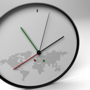clock, green, and red image