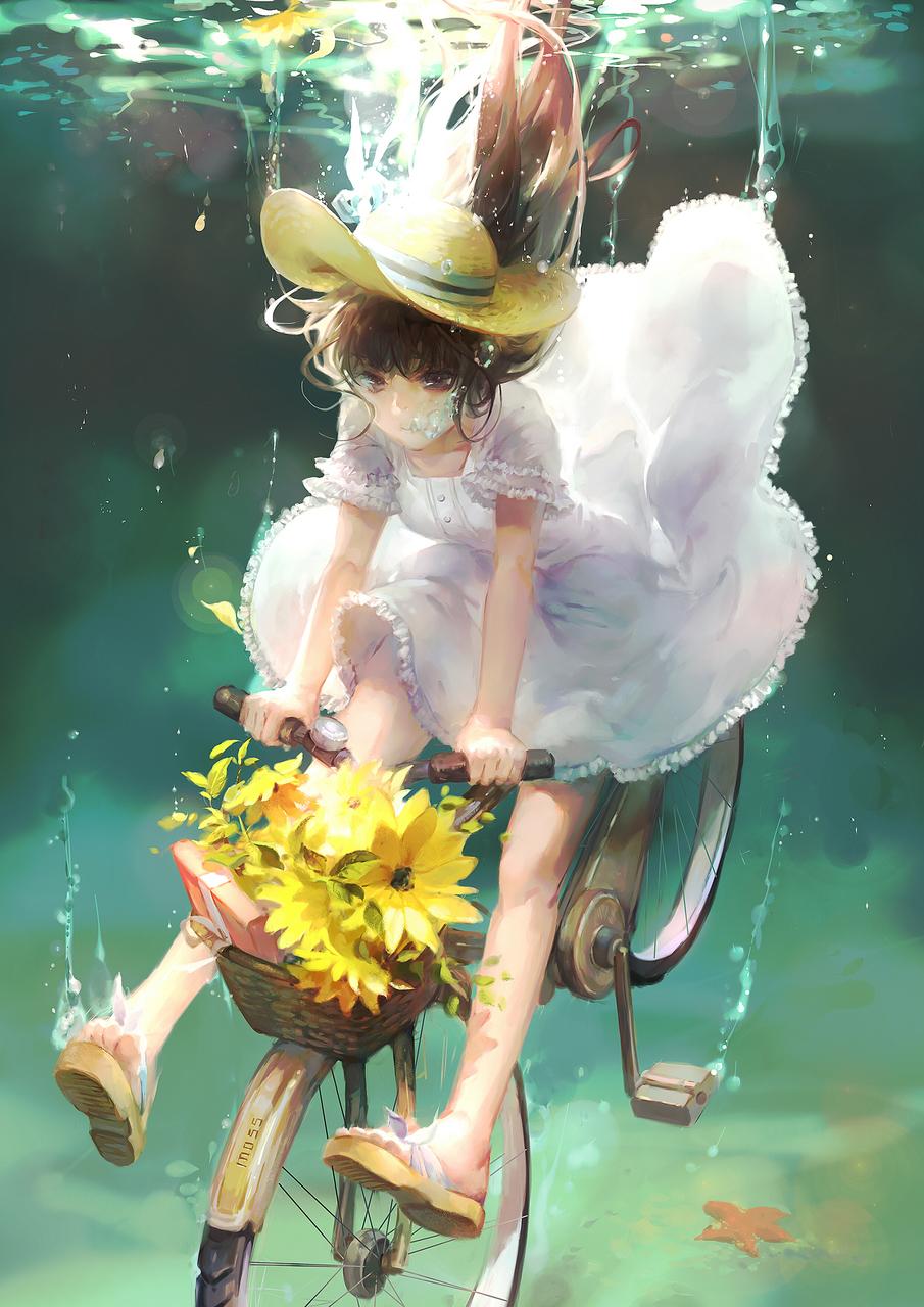 anime, anime girl, and flowers image