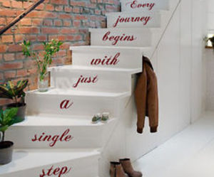 wall decals, staircase decor, and quote decal image