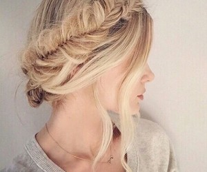 blonde, updo, and braid image