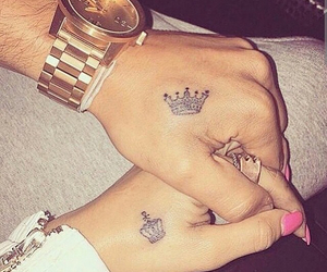 couple, tattoo, and gold image