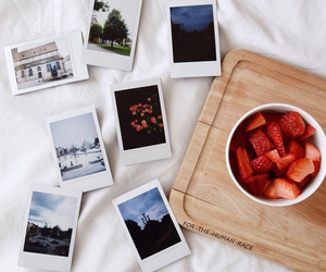food, polaroid, and strawberries image