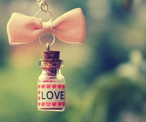 love, pink, and bow image