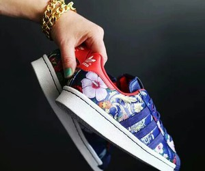 shoes, adidas, and flowers image