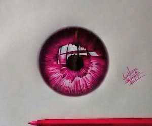 art, eye, and pink image