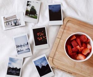 food, polaroid, and strawberries image