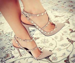 fashion, studded heels, and heels image