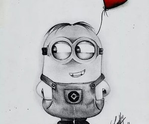 minions, heart, and drawing image
