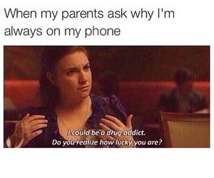 girl, parents, and phone addict image