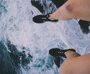 sea, nike, and shoes image