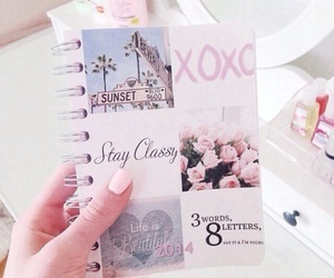 pink, xoxo, and notebook image