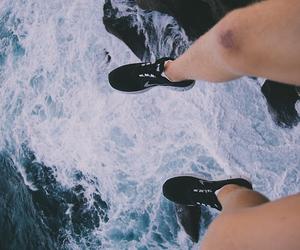 sea, nike, and shoes image