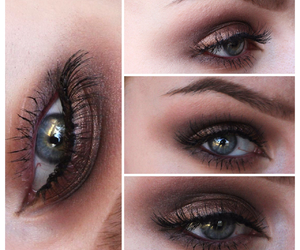 blue eyes, bronze, and eyeshadow image