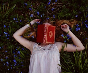 blonde, blue, and book image