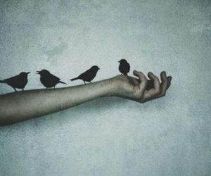 <3, birds, and girl image