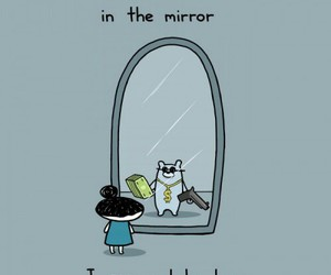 funny, mirror, and bear image