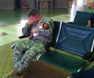 baby, soldier, and cry image