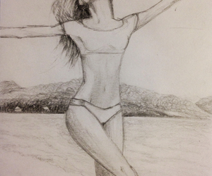 art, beach, and bikini image