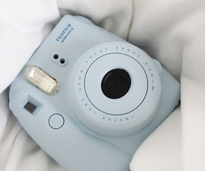 blue, camera, and polaroid image
