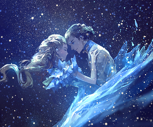 blue, couple, and galaxy image