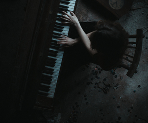 piano, dark, and music image
