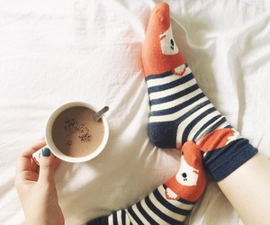 girl, socks, and bed image
