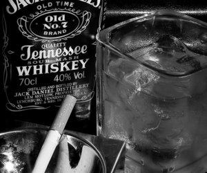 jack daniels, cigarette, and whiskey image