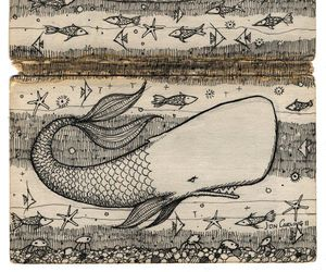 art, drawing, and whale image