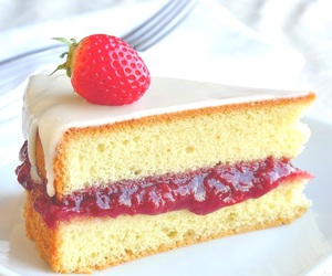 cake, dessert, and strawberries image