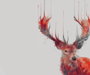 art, stag, and painting image