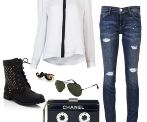 chanel, mustache, and outfit image