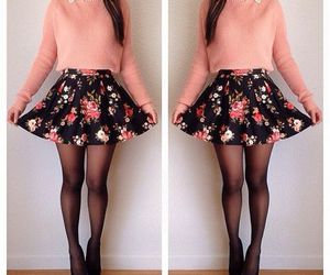 beauty, fashion, and floral skirt image