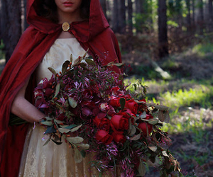 red, forest, and flowers image
