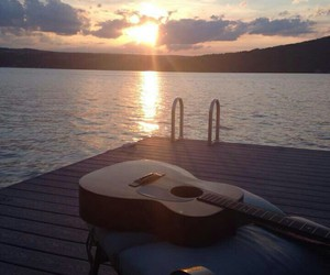 guitar, summer, and sunset image