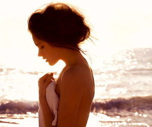 beach, Isabel Lucas, and sun image