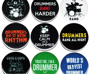 buttons, drummer, and drums image