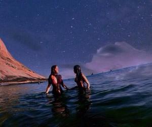 beach, sky, and galaxy image