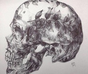 skull, flowers, and art image
