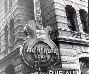 hard rock cafe, rock, and black and white image