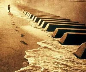piano, music, and beach image