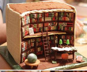 cake, book, and library image