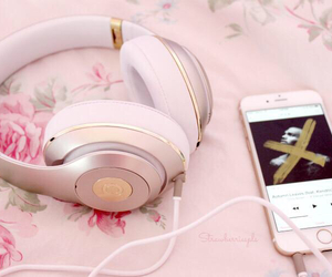 girly, headphones, and iphone image