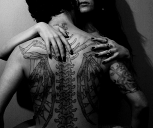 black and white, girl, and tattoo image