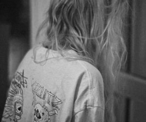 grunge, black and white, and hair image