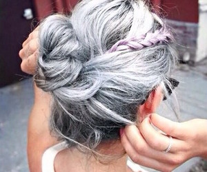 grey, hairs, and gril image