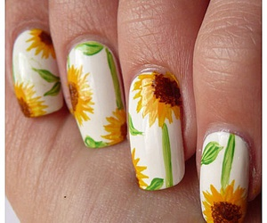 flower, nails, and sunflower image