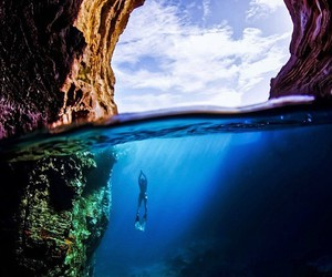 summer, blue, and cave image