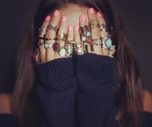 rings, girl, and nails image