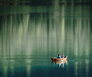 nature, boat, and couple image